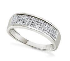 Men's Micro-Pave Diamond Band 10K White Gold White Diamond Wedding Ring .15ct