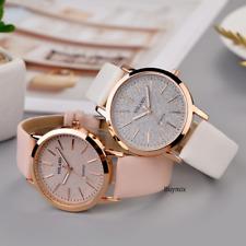 Glitter Sparkling Women's Wrist Watch Rose Gold Leather Bracelet Ladies Gift