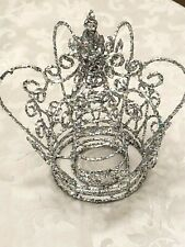 """Silver Glitter Crown Christmas Tree Topper 8""""T x 7""""D"""