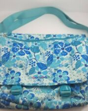 J World New York Messenger Laptop Bag Blue Floral Canvas Carry Strap