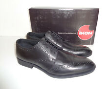 IKON Mens Black Leather Shoes New Brogues Formal Office RRP £70 UK Sizes 6-12