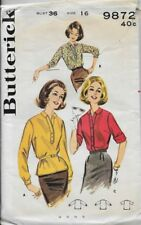 Vintage Butterick Sewing Pattern 9872 Misses' CASUAL BLOUSE sz 16