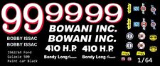 #99 Bobby Issac Bowani Racing 1963 Ford 1/64th Ho Scale Slot Car Decals