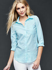 Gap Women Shirt XL Fitted Boyfriend Aqua Green Gingham Plaid Cotton Long Sleeves