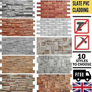 Stone Effect PVC Plastic Wall Covering Panels 3D Decorative Tiles Cladding