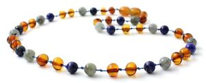Baltic Amber Necklace, Labradorite, Lapis Lazuli Blue Jewelry, Polished Cognac