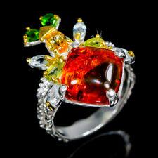 Vintage SET Natural Amber 925 Sterling Silver Ring Size 8.75/R111557