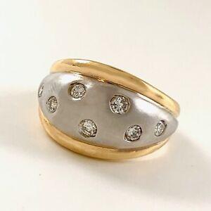 Gypsy-Set Diamond Bombe Dome or Turban Ring SZ 5 in Yellow & White 14K Gold 4.9g