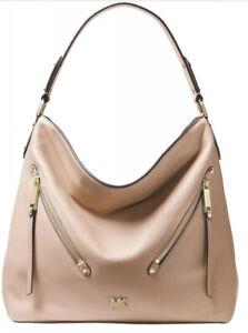 New Michael Kors evie Hobo supple leather front zip pocket soft pink gold bag