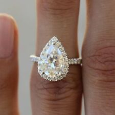 Certified 2.25ct Pear Shape White Diamond in 14k White Gold Halo Engagement Ring