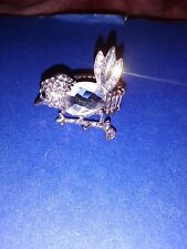 Ring Silver tone with large cristal Bird stretch