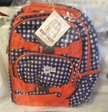 aea21757870e  60 Pottery Barn LARGE gingham backpack Navy Orange Preppy plaid boy school  bag