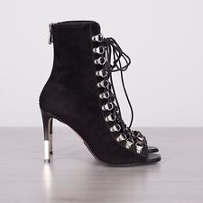 BALMAIN 1490$ Authentic New Black Suede Leather Lace-Up Ankle Boots