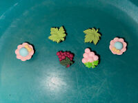 3D Grapes,leafs & Hats Lot Of 4 Shoe,Bracelet,Lace Charms,Fit Namebrand Crocs