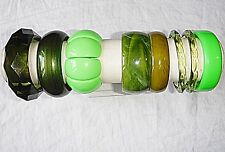 VINTAGE LUCITE RESIN VARIOUS GREENS COLOURS BANGLE BRACELET COLLECTION 8 WOW