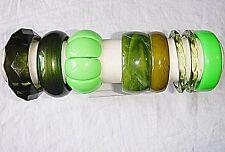 Vintage lucite resina vari colori verdi Bracciale BANGLE COLLEZIONE 8 WOW