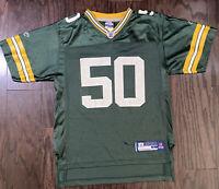 Green Bay Packers NFL Football #50 AJ Hawk Jersey Youth Large Reebok Wisconsin