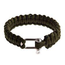 Bracelet de Survie Paracord 550 avec Manille de Uen Acier Inoxydable - Oliv W5P8