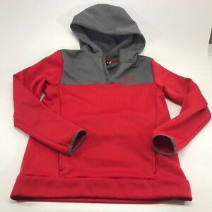 Under Armour Kids 1/4 Zip Hoodie Grey Red Size Youth XLarge