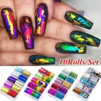 10Rolls Starry Sky Laser Nail Foil Marble Holographic Art Transfer Sticker W Box