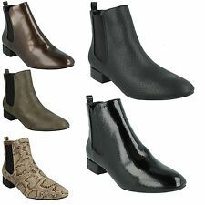 SALE LADIES SPOT ON F50558 CHELSEA PULL ON SNAKE PRINT PATENT ANKLE BOOTS SHOES