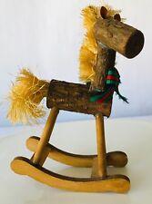 """Wood Log & Brush Mane & Tail Rocking Horse Christmas Holiday Ornament 5.5"""""""