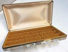 Mele Jewelry Hard Case Pierce Earring Travel Storage Organizer Gray Gold Vintage
