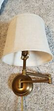 Pottery Barn Chelsea Metal Swing-Arm Plug-In Sconce Antique Brass w/ Linen Shade