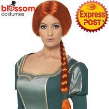 W529 Official Shrek Princess Fiona Plait Brown Wig Fairytale Costume Book Week