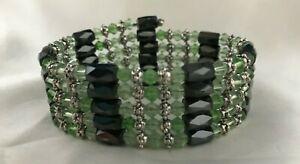 "Bracelet Belt Lariat Crystal Hematite Magnetic Glass beads ALL COLORS! 36""+ NEW"
