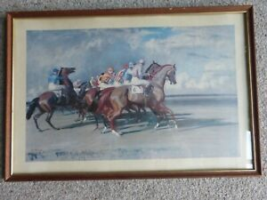 UNDER STARTER`S ORDERS,NEWMARKET by Sir Alfred Munnings, Framed Print
