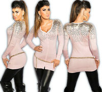 KOUCLA Cardigan Sequin Pullover Long Pullover Knitted Dress Sweater Rosa
