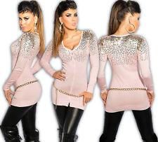 KOUCLA Chaqueta Lentejuelas Jersey Suéter Largo Vestido de punto suéter Rosa