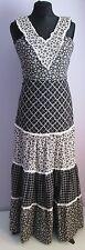 Vintage Femme JOLI Noir/Blanc Floral Prairie style sans manches Robe longue taille 8
