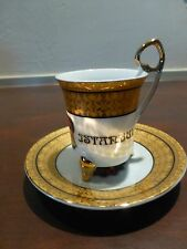 """Great Vintage Turkish Coffee Cup Saucer Istanbul  4"""" [Y6-W6-A8]"""