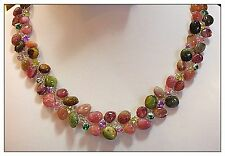 78 Tourmaline Necklace, Multi Color with Rhinestones, 18 inches, can custom make