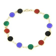 14K Yellow Gold Multi-Colored Onyx Bracelet With Round Stones 8 Inches