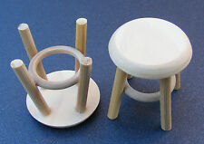 1 12 Scale 2 Natural Finish Small Wood Stools Dolls House Furniture Accessory 61