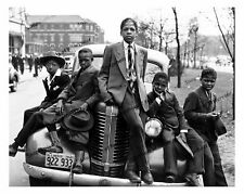 Vintage photo-African American boys on old car (1938 Pontiac)-8x10 in.