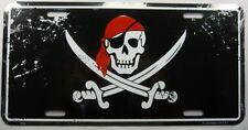 PIRATE METAL LICENSE PLATE SKULL & CROSS SWORDS FLAG JOLLY ROGER SIGN NEW L300