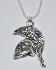 Roman Empire Ancient Greek Spartan Mohawk Helmet 925 Real Sterling Silver Chain