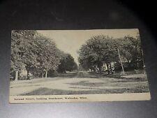 ANTIQUE 1914 SECOND STREET LOOKING SOUTHEAST WABASHA MINN POSTCARD MN
