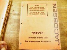 Jacobsen Master Parts List 1972