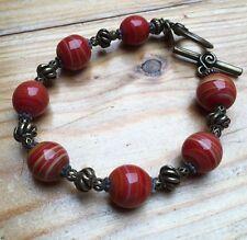 Pretty Red Banded Agate Bracelet/Stripy/Dark Gold Tone/Boho/Ethnic/Festival