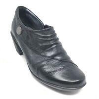 Women's Romika Booties Clogs Shoes Size 38 EU/6.5 B Black Leather Side Zip Y7