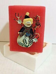 Avon Decorative Red Candle Tin Accent Snowman Ornament in Original Box