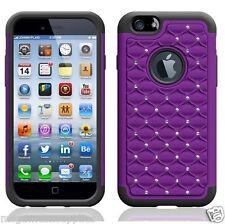 "Purple Diamond BLING DEFENDER Armor Shockproof Glitter 3D Case for iPhone 6 4.7"""