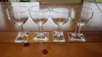 Crystal Cordial Glasses Square stem and Rectangle Bottom Unique 4 5oz glasses