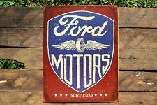 Ford Motors Tin Metal Sign - Dealer - Trucks - Motor Co. - Winged Wheel Logo