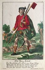 1740 Antique Print; Scottish Highlander. Soldier Uniform. Tartan / Kilt. Scarce